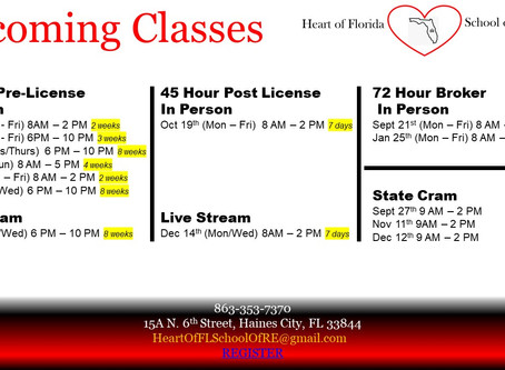 Upcoming Classes through the end of 2020