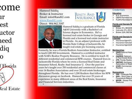 Guest Instructor Hameed Siddiq