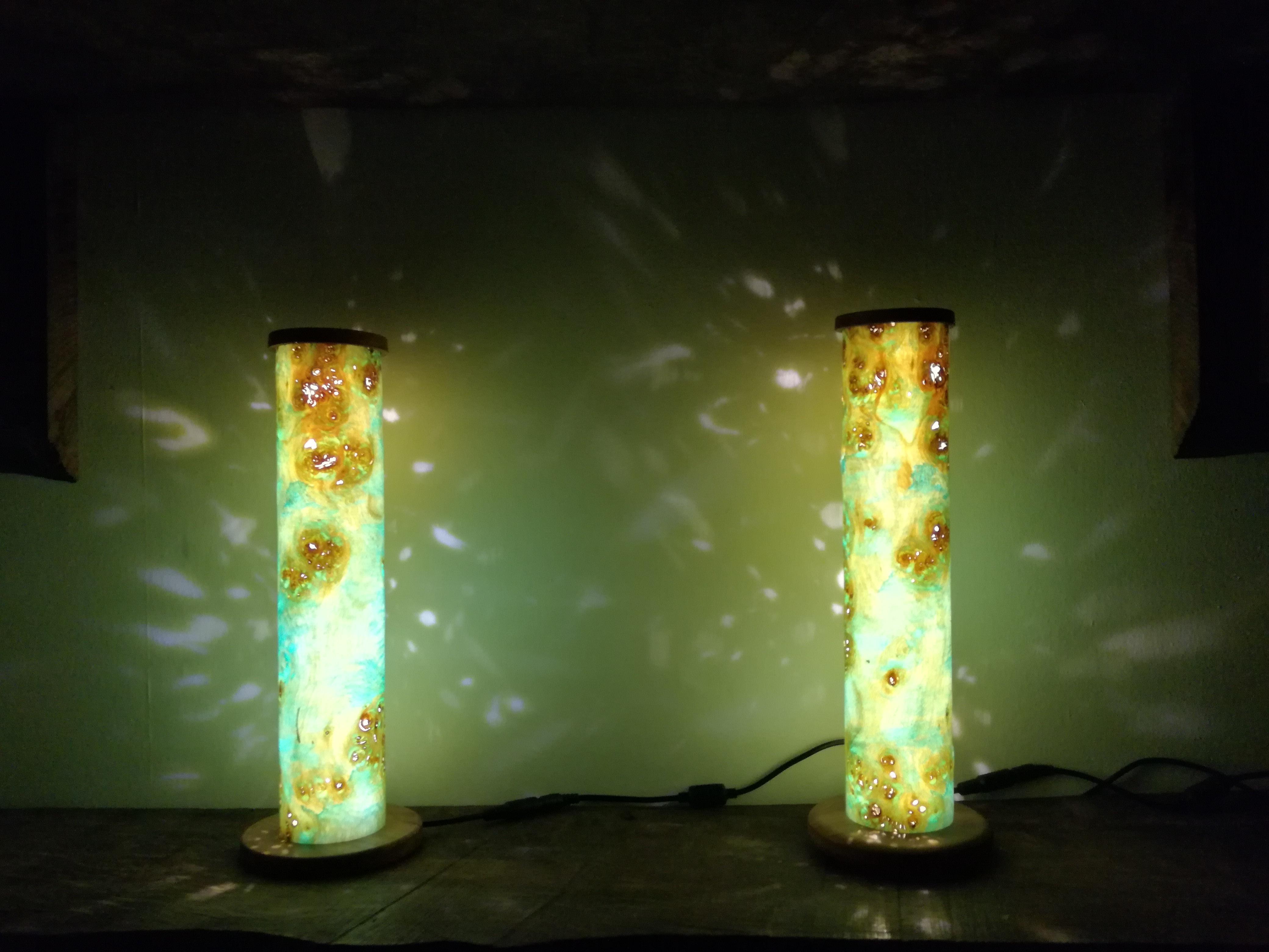 Pair of tube lamps.