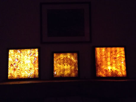 three framed lamps, maple veneer, oak veneer