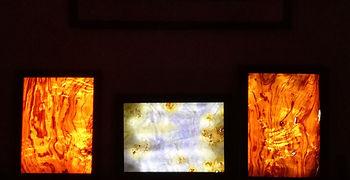 three veneer lamps, olive ash, pupple poplar