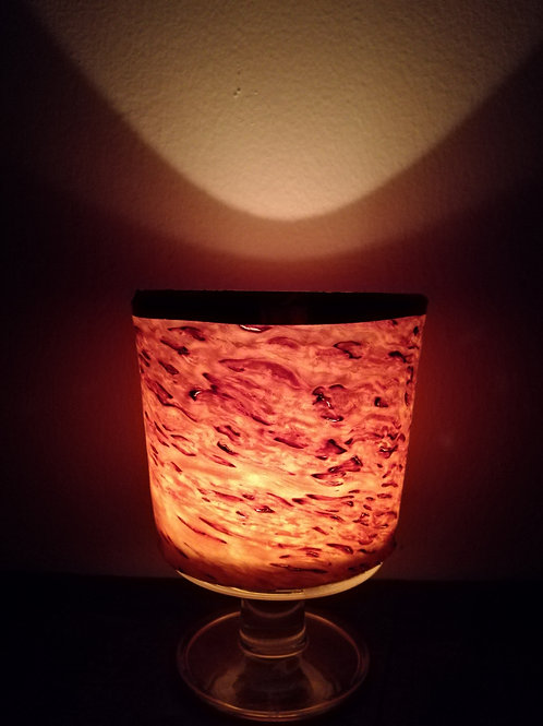 wine glass birch veneer candle light
