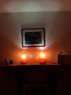 Maple lamps on shelf
