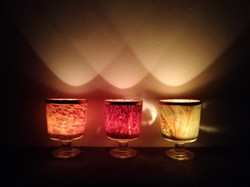 Set of 3 wine glass candles.