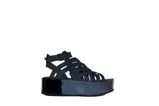 Grid Black Sandals