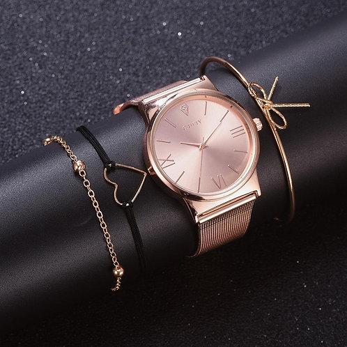 GAIETYファッション4pcs ローズゴールド時計セット。
