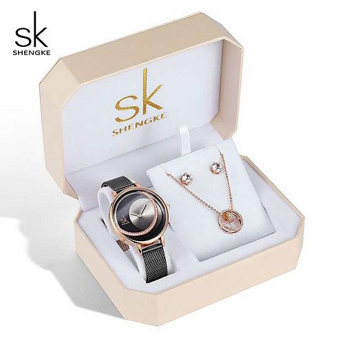 SK レディースブレスレットウォッチセット「クリスタルイヤリングネックレスセット」