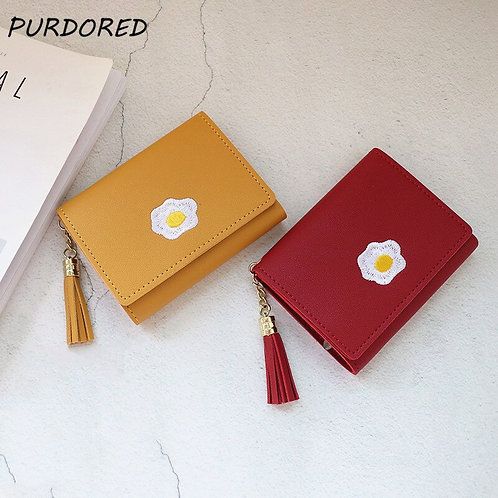 PURDORED 目玉焼きプリント付きミニ財布