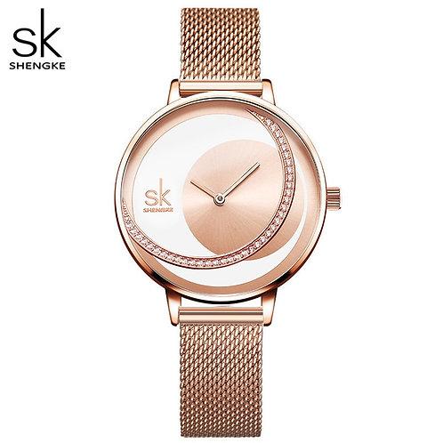 SKの女性用腕時計、クォーツリストウォッチ