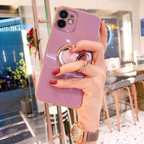 高級リングホルダースマホケース iPhone 11 7 8 Plus 12 Pro Max XS XR SE 2020 Silicon