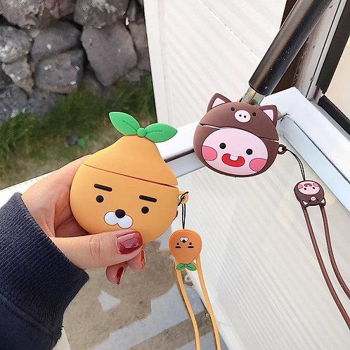 Apple Airpods Pro 2 1 用かわいい3Dオレンジベアピーチストラップシリコンケース