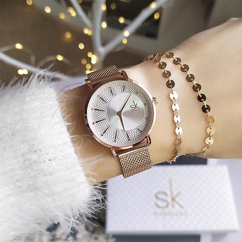 Sk 高級クォーツ時計 ローズゴールド/シルバー