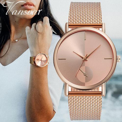 女性用の腕時計、カジュアルな革バンド
