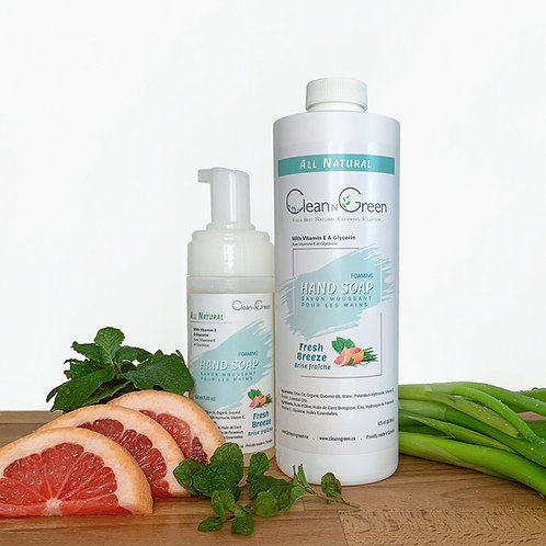Fresh Breeze Foaming Hand Soap - 100% Natural (150 ml + 475 ml Refill)
