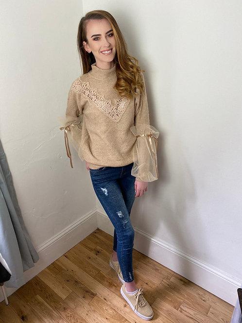 Chloe Mocha Jumper With Puffy Sleeves