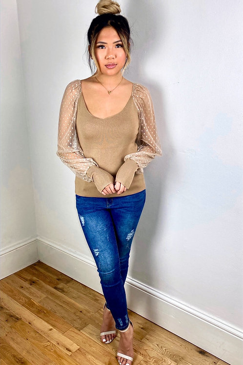 Lucy Nude Top with Sheer Polka Dot Sleeves