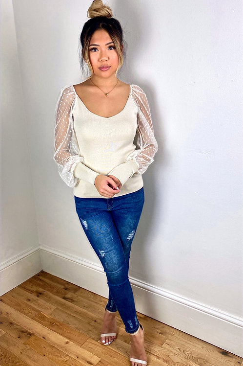 Lucy Cream Top with Sheer Polka Dot Sleeves