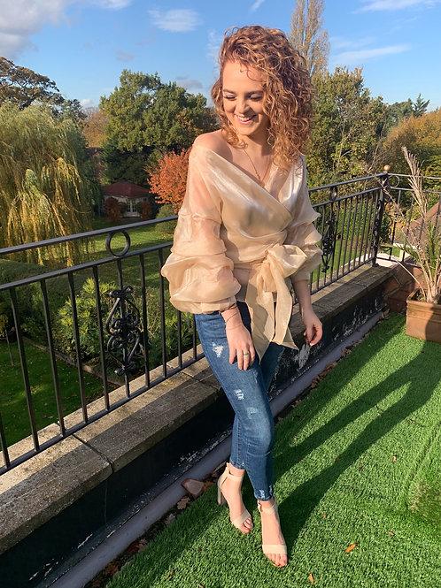 Amelia Champagne Wrap Blouse
