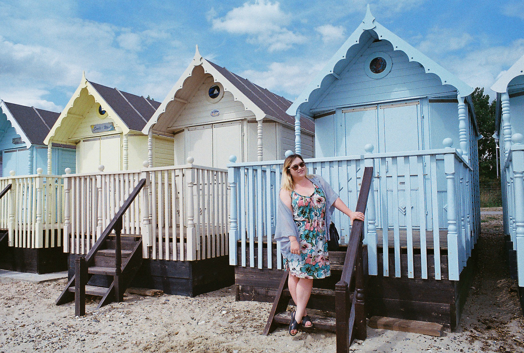 35mm Girl Pastel Beachhuts Mersea