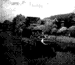 game boy camera - boat on canal