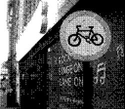 game boy camera - bike sign