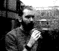 game boy camera - niall drinking coffee