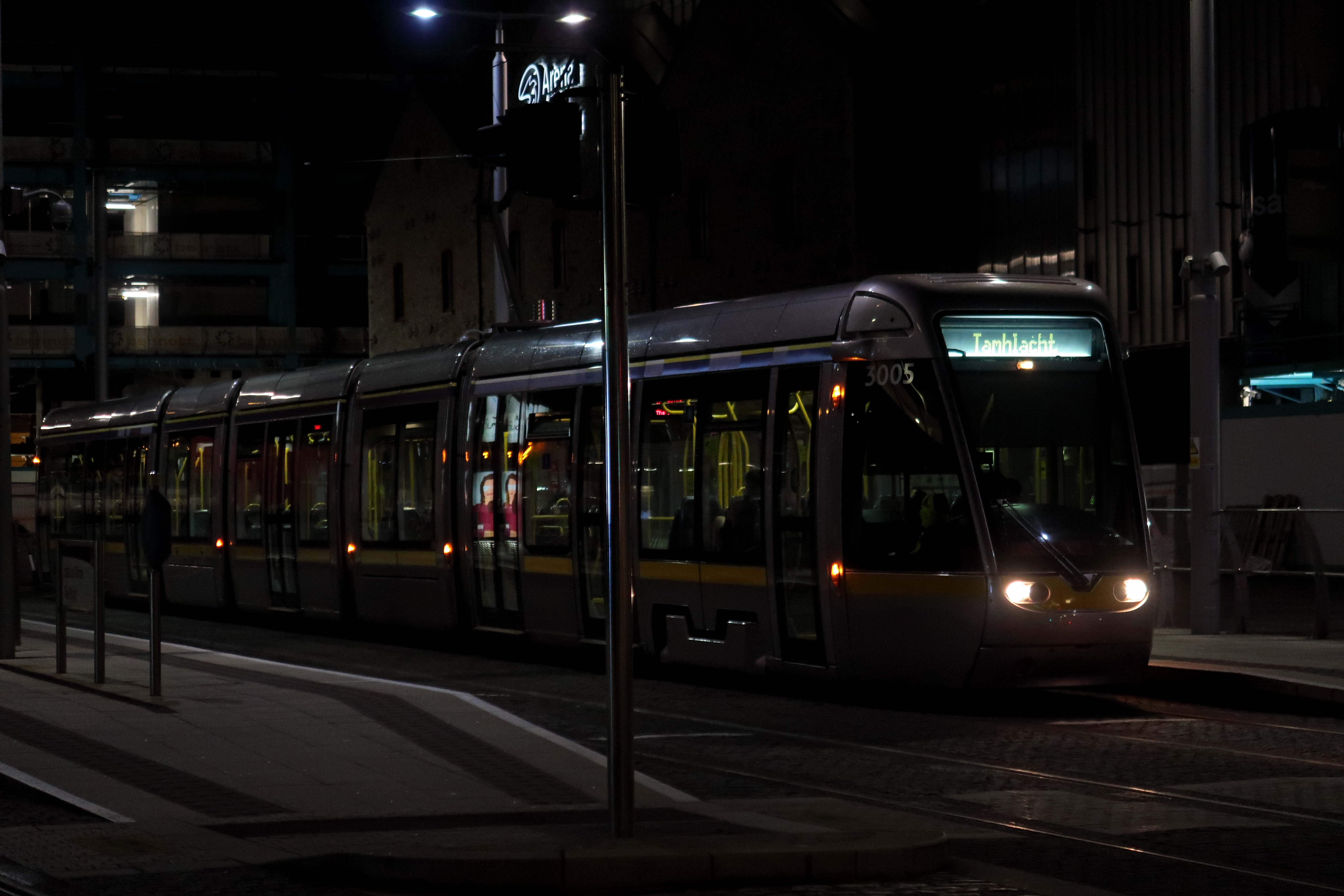 37 Dublin LUAS at night