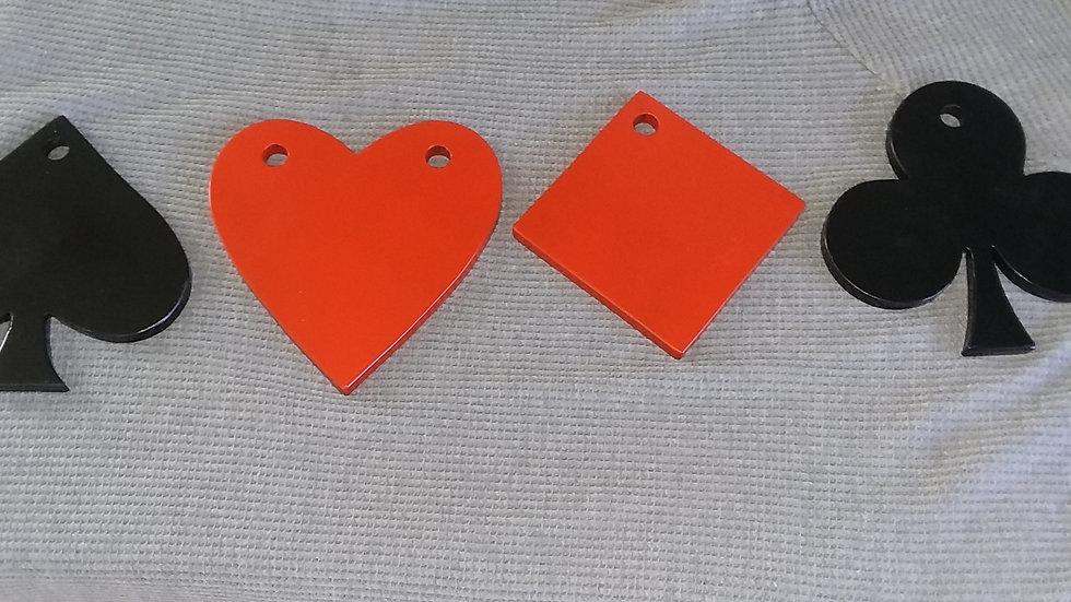 "Card Suit gong set of four 6""diameter 3/8"" AR500 targets"