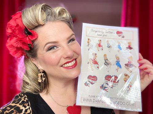 Dawn's Vintage gals tattoo sheet