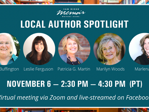 Join me! Learn from Local Authors Memoir Panel on November 6