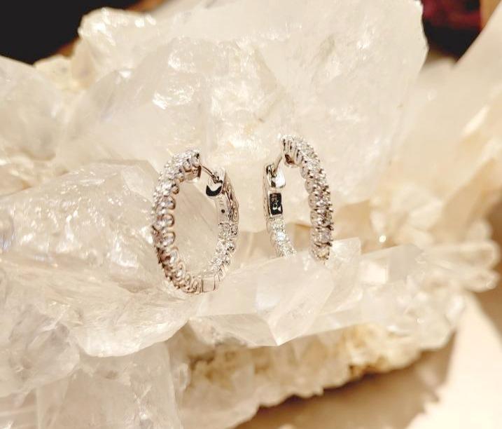 Diamond hoop earrings.