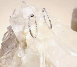 Diamond hoops earrings.