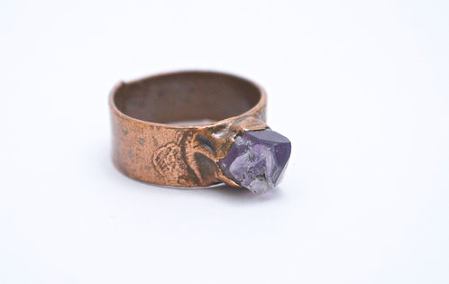 Upcycled Copper Ring with Raw Amethyst
