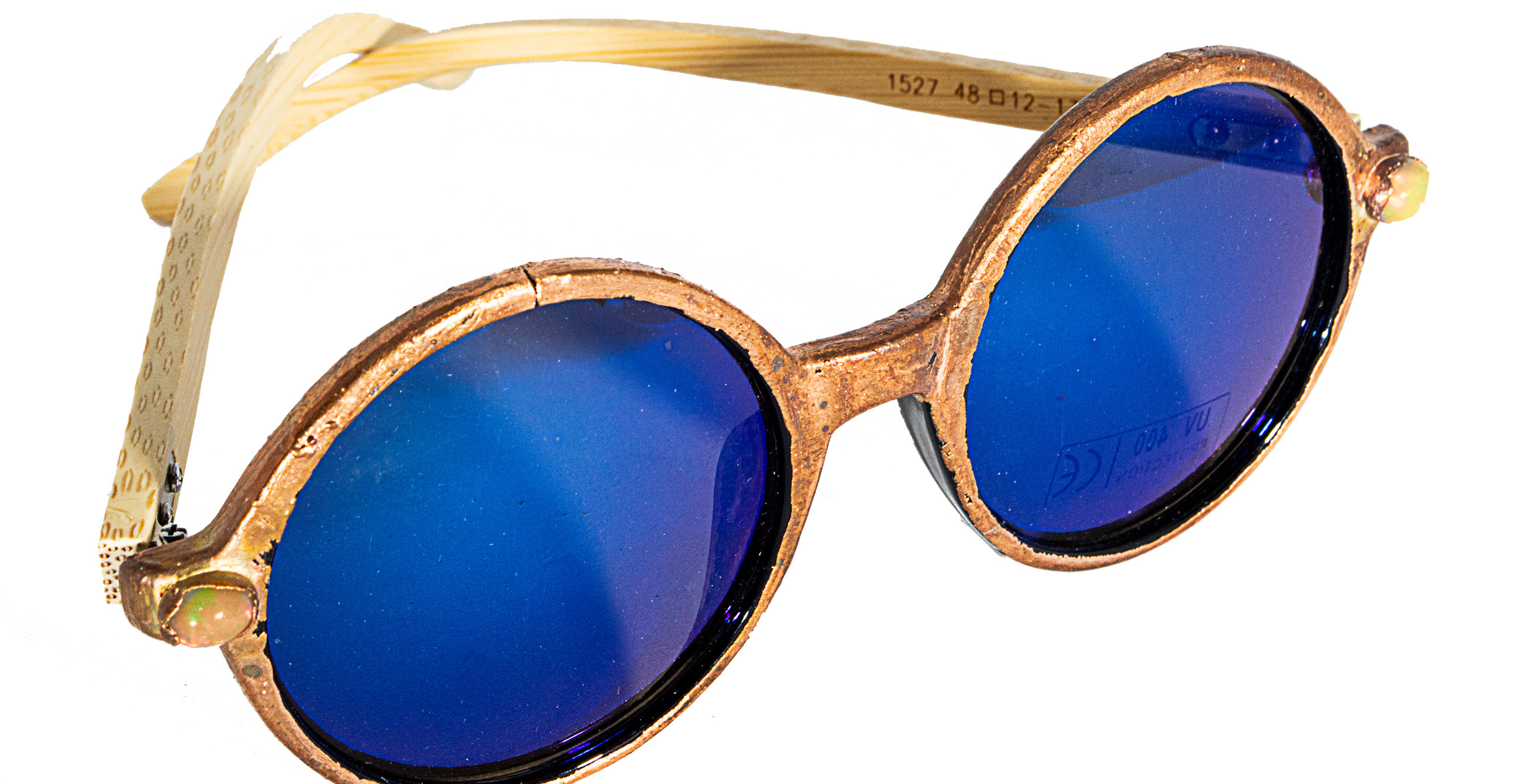 Copper electroformed sunglasses with welo opal and bamboo arms