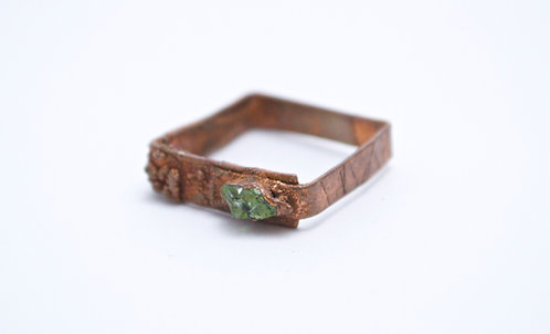 -Square- Upcycled Copper Electro Ring w/ Peridot