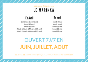 Jour de fermeture - Marinka saison 2017