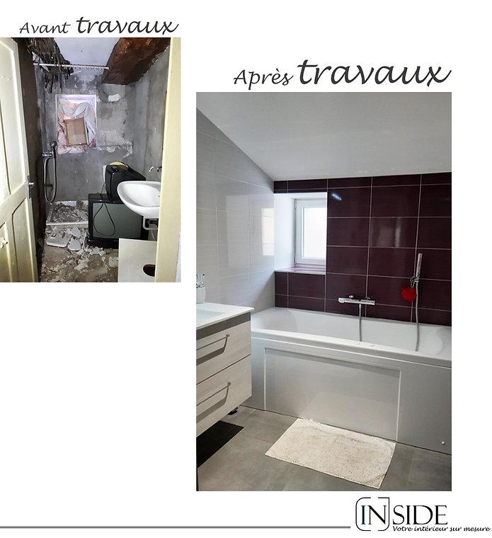 photo rénovation maison salle de bains à Liergues avant et après TRAVAUX