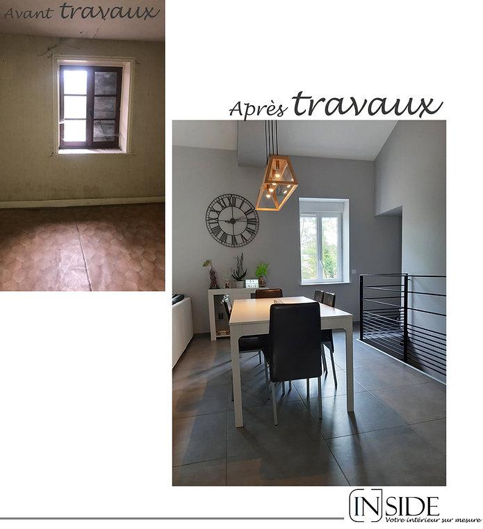 photo rénovation maison pièce de vie à Liergues avant et après TRAVAUX