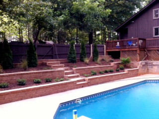 Retaining Walls & Steps around Pool