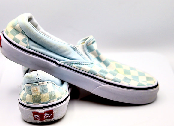 Girls White and Gray Checker Vans