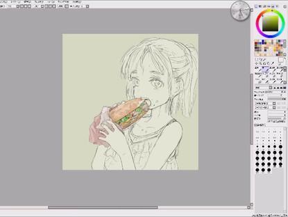 バインミーを食べる女の子の制作動画。