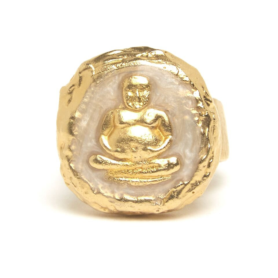 THAI BUDDHIST AMULET RING WITH PEARL | jessicariccijewelry