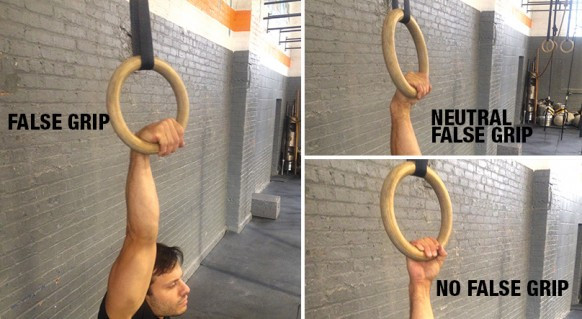 False grip for ring muscle up