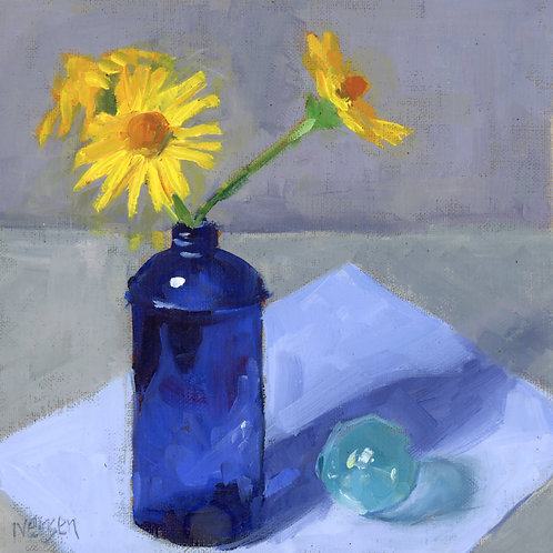 Yellow Daisies in Blue