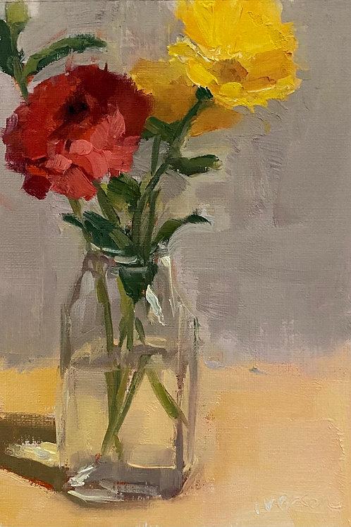 Zinnia and Yellow Daisies