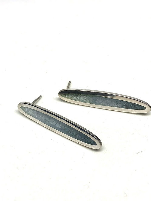 Long fine silver enamel post earrings