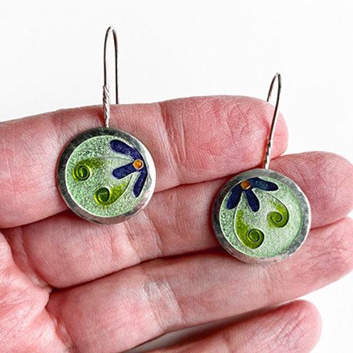 Enameled Cloisonne Flower Earrings