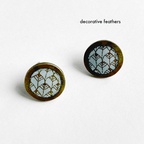 Zentangle Collection - Enamel Small Button post earrings