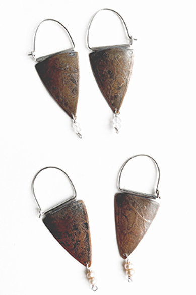 Shield Collection -  Copper with semi-precious stone dangle
