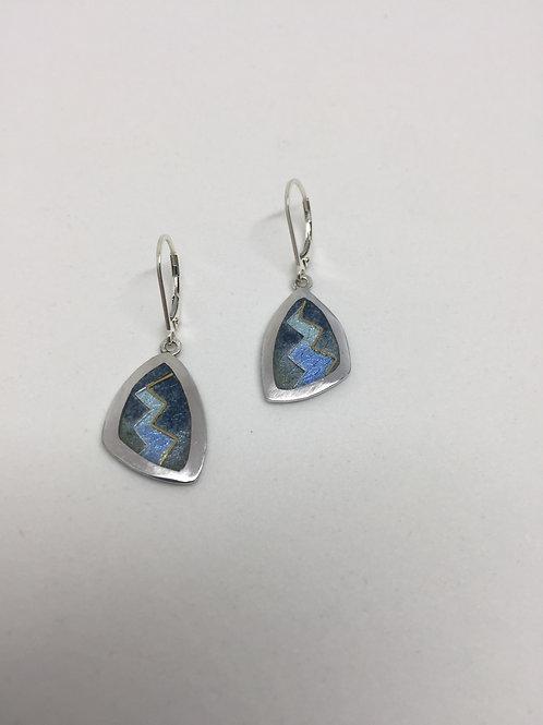Fine silver earrings blue/gray